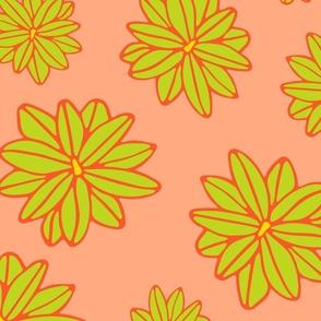 Bloom Big Boho Floral in Orange Green and Yellow - LARGE Scale - UnBlink Studio by Jackie Tahara