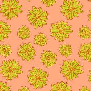Bloom Big Boho Floral in Orange Green and Yellow - SMALL Scale - UnBlink Studio by Jackie Tahara