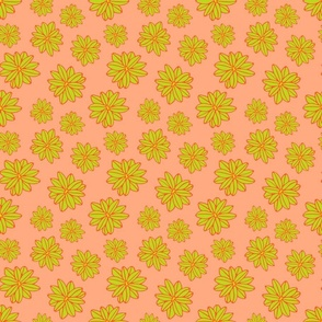 Bloom Big Boho Floral in Orange Green and Yellow - TINY Scale - UnBlink Studio by Jackie Tahara