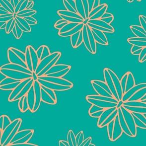 Bloom Big Boho Floral in Teal and Blush - LARGE Scale - UnBlink Studio by Jackie Tahara