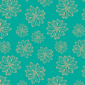 Bloom Big Boho Floral in Teal and Blush -SMALL Scale - UnBlink Studio by Jackie Tahara