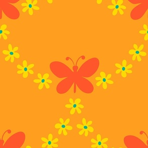 Butterfly Garland Scalloped Boho Floral in Orange Yellow Green - LARGE Scale - UnBlink Studio by Jackie Tahara