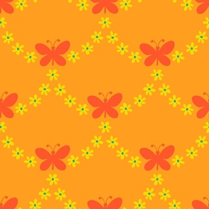Butterfly Garland Scalloped Boho Floral in Orange Yellow Green - SMALL Scale - UnBlink Studio by Jackie Tahara
