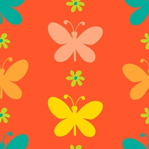 Butterfly Garland Vertical Boho Floral in Orange Yellow Green - LARGE Scale - UnBlink Studio by Jackie Tahara