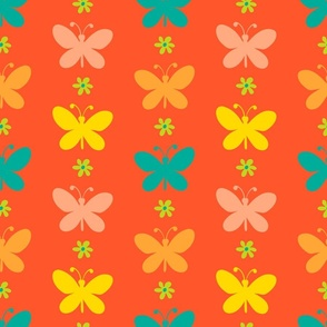 Butterfly Garland Vertical Boho Floral in Orange Yellow Green - SMALL Scale - UnBlink Studio by Jackie Tahara