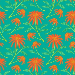 Daisy Fresh Boho Floral in Orange Green Teal - SMALL Scale - UnBlink Studio by Jackie Tahara