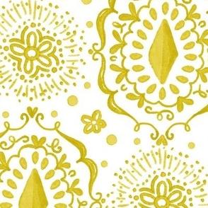 watercolor boho  ikat Gold