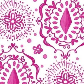 Pink watercolor boho Ikat