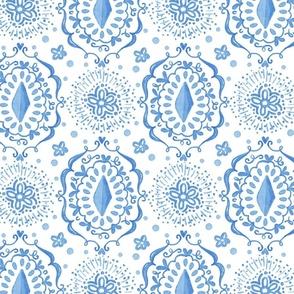 Blue watercolor boho ikat pattern