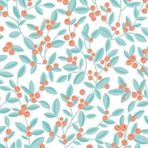The minimalist botanical fruit garden berries and leaves branches pastel winter nursery Christmas palette orange aqua