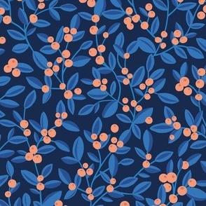 The minimalist botanical fruit garden berries and leaves branches pastel winter nursery Christmas palette blue navy orange