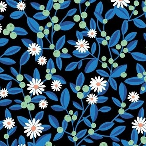 Fruit and daisies botanical winter garden berries lime and leaves branches winter wonderland mint green classic blue on black