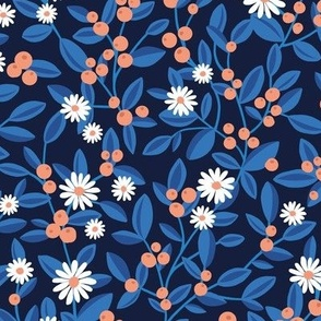 Fruit and daisies botanical winter garden berries oranges and leaves branches winter wonderland blue orange on navy