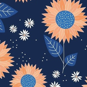 Indian summer sunflowers leaves and daisies orange classic blue on navy JUMBO