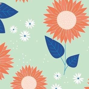 Indian summer sunflowers leaves and daisies orange blue on mint JUMBO