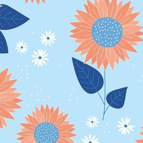 Indian summer sunflowers leaves and daisies classic blue orange on baby blue JUMBO