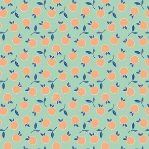 Summer fruit love sweet peaches and oranges in orange mint and classic blue