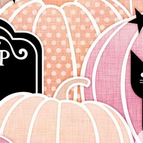 Pastel Halloween Extra Large-Pumpkin Patch with Bats, Skeletons, Black Cats, Ghosts and Stars- Pink, Peach and Black- Soft Colors- Baby Girl- Large Scale- Home Decor- Wallpaper