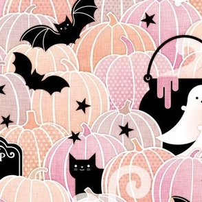 Pastel Halloween Small- Pumpkin Patch with Bats, Skeletons, Black Cats, Ghosts and Stars- Pink, Peach and Black- Soft Colors- Baby Girl- Small Scale