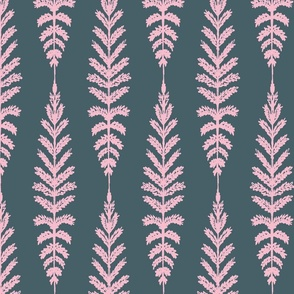 Ferns - Navy and Pink