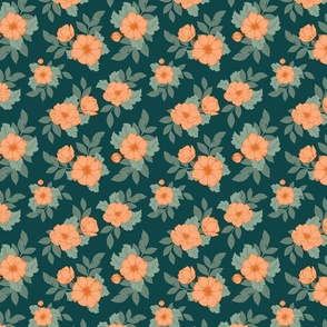 Dog Roses S - Teal and Orange