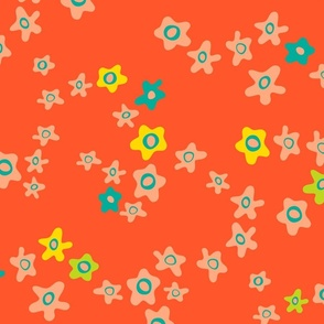 Ditsy Daisy Boho Floral in Orange Yellow Blush - LARGE Scale - UnBlink Studio by Jackie Tahara