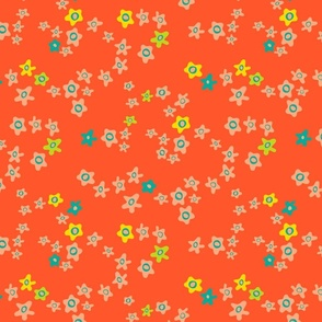 Ditsy Daisy Boho Floral in Orange Yellow Blush - SMALL Scale - UnBlink Studio by Jackie Tahara