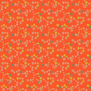 Ditsy Daisy Boho Floral in Orange Yellow Blush -TINY Scale - UnBlink Studio by Jackie Tahara