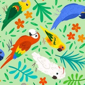 Birds of Paradise (green background)
