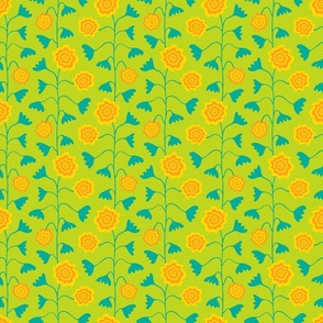 Nectar Boho Floral Vertical in Green Teal Yellow Orange - TINY Scale - UnBlink Studio by Jackie Tahara