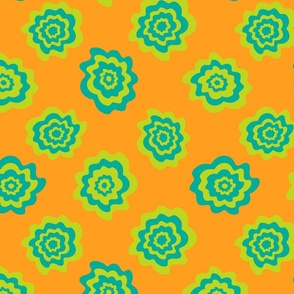 Nectar Boho Abstract Floral Scattered Singles in Green Teal on Orange - SMALL Scale - UnBlink Studio by Jackie Tahara
