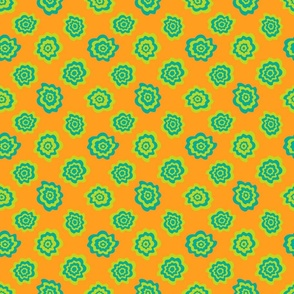 Nectar Boho Abstract Floral Scattered Singles in Green Teal on Orange - TINY Scale - UnBlink Studio by Jackie Tahara