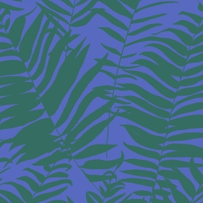 Fern Silhouette - Green and Blue