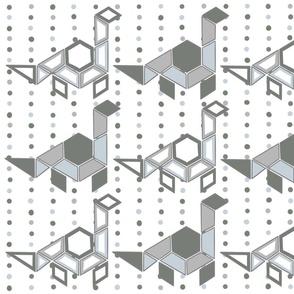 Neutral Geometric Dinosaur Wallpaper