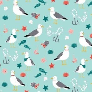 Seaside Seagulls, Sea Foam Green