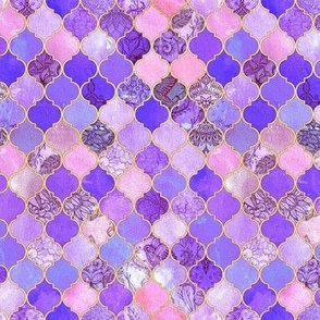 Pink, Purple and Gold Decorative Moroccan Tiles Tiny Print