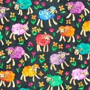 Rainbow Watercolor Sheep in Fields of Flowers - charcoal, medium