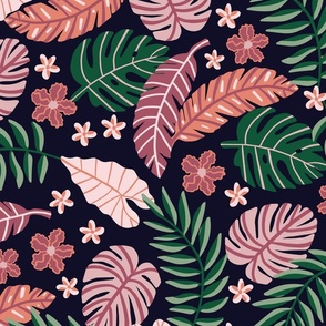Moody Tropical Leaves and Flowers   Pink and Coral on Navy   Large Scale