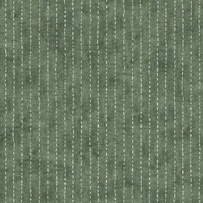 Handdrawn Pinstripe in Forest Green   Dashed pinstripe fabric for shirt dress, jacket, apparel in natural green and white, kantha, sashiko stitches on dark green.