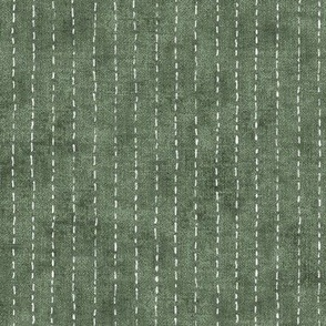 Handdrawn Pinstripe in Forest Green (large scale)   Dashed pinstripe fabric for shirt dress, jacket, apparel in natural green and white, kantha, sashiko stitches on dark green.