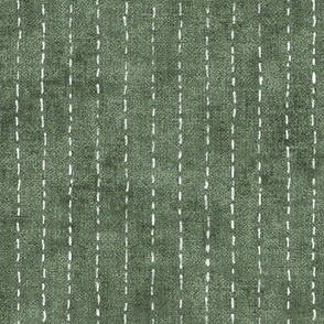 Handdrawn Pinstripe in Forest Green (xl scale)   Dashed pinstripe fabric for shirt dress, jacket, apparel in natural green and white, kantha, sashiko stitches on dark green.