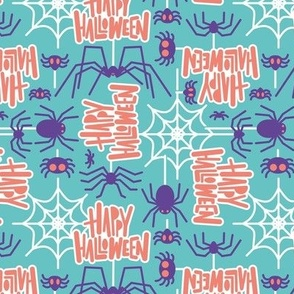 Small scale // Happy Halloween spiders // mint background purple crawly creatures salmon orange lettering white webs