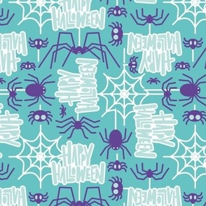 Small scale // Happy Halloween spiders // mint background purple crawly creatures aqua lettering white webs