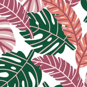 Retro Tropical Leaves   Pink and Coral on White   Large Scale