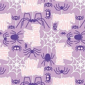 Small scale // Happy Halloween spiders // lilac background purple crawly creatures pastel pink lettering white webs