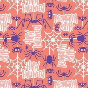 Small scale // Happy Halloween spiders // salmon orange background purple crawly creatures sundown pink lettering white webs