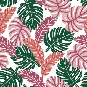 Retro Tropical Leaves   Pink and Coral on White   Regular Scale