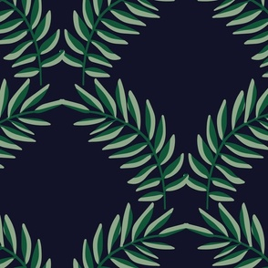Moody Tropical Leaves Geometric Scallop - Large Scale