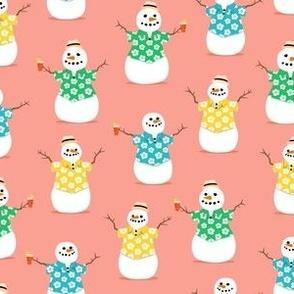 Summer Snowman - summer peach - tropical Christmas - LAD21