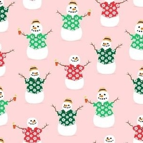 Summer Snowman - pink - tropical Christmas - LAD21